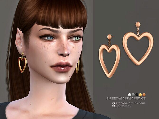 Sims 4 Sweetheart earrings by sugar owl at TSR