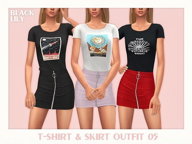 T Shirt Sims 4 Skirt Outfit 05