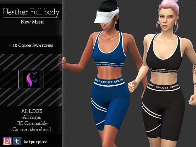 Sims 4 Top & Shorts Activewear Outfit Heather by KaTPurpura at TSR
