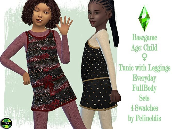 Tunic Sims 4 Leggings Child Girl
