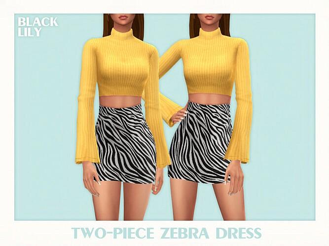 Two Piece Zebra Sims Dress