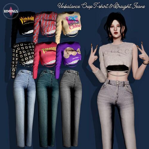 Unbalance Crop T Shirt Sims 4 Straight Jeans