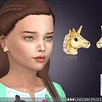Unicorn Stud Sims 4 Earrings For Kids