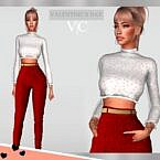 Valentines Day Sims 4 Crop Top Pants