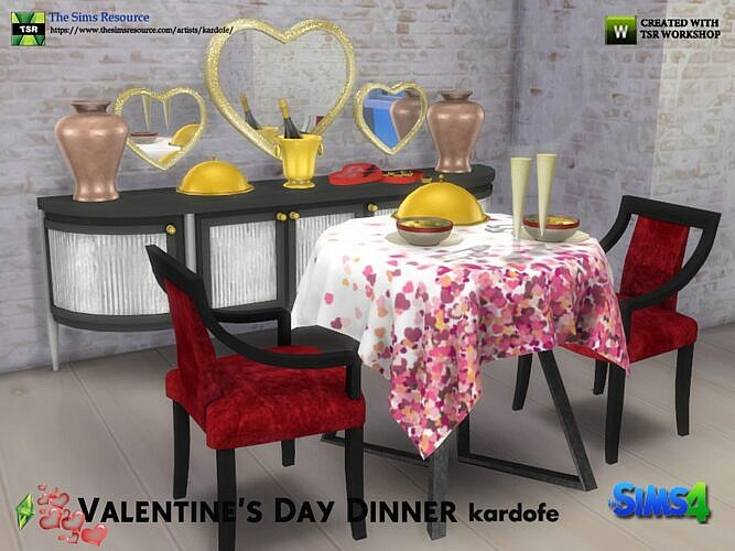 Valentines Day Sims 4 Dinner Set