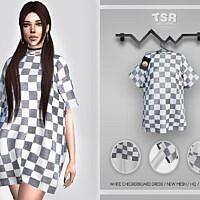 White Checkerboard Sims 4 Dress Bd424