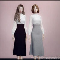 White Shirt Long Skirt Sims 4 Outfit By Arltos