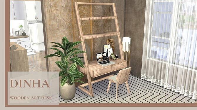 Sims 4 Wooden Art Desk at Dinha Gamer