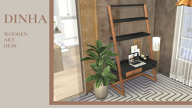 Wooden Art Sims 4 Desk