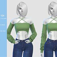 X Strap Sims 4 Crop Top N104