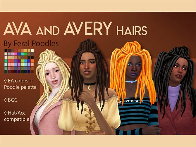 Sims 4 Ava Hair by feralpoodles at TSR