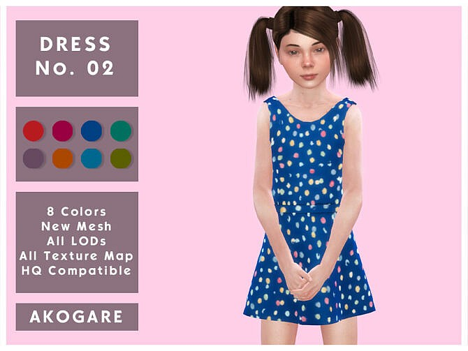 Sims 4 Dress No.02 by Akogare at TSR