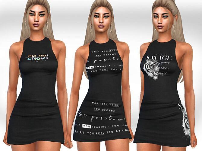 Sims 4 Printed Little Black Dresses by Saliwa at TSR