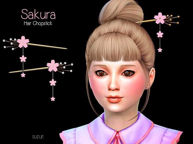 Sims 4 Sakura Child Chopstick Set by Suzue at TSR