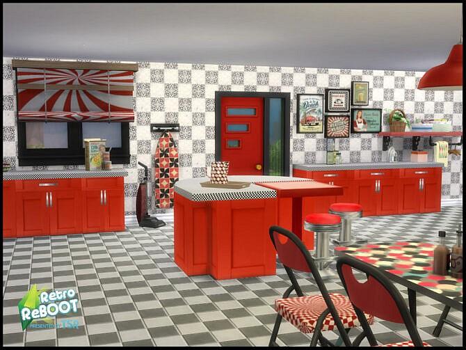 Sims 4 Retro R&R Kitchen Diner Set by seimar8 at TSR