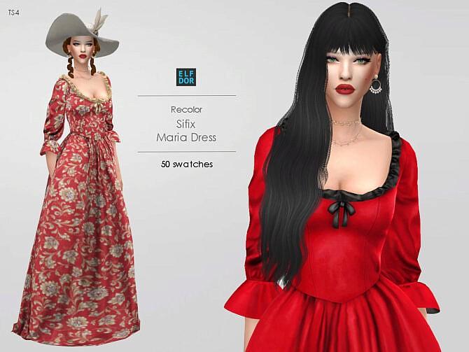 Sims 4 Sifix Maria Dress RC at Elfdor Sims