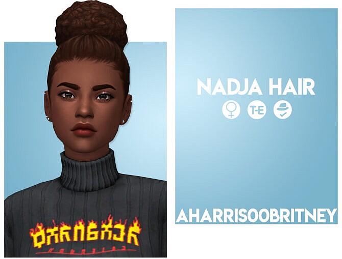 Sims 4 Nadja Simple Bun Hair at AHarris00Britney