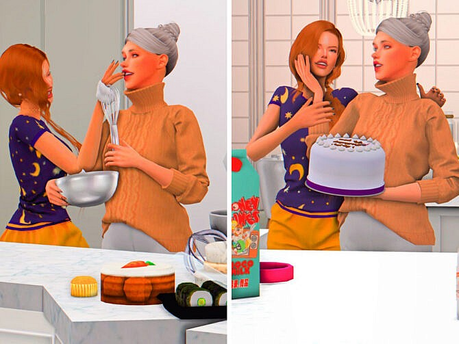 Sims 4 Bake Day Poses by couquett at TSR