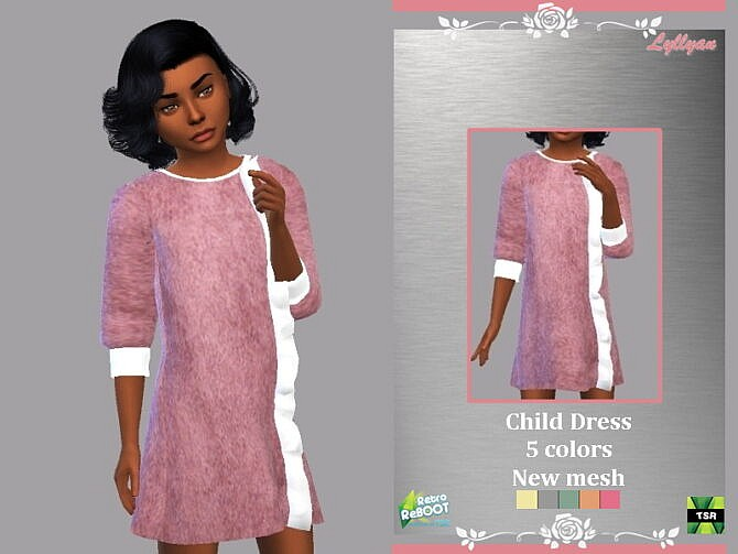 Sims 4 Retro Child dress Elba by LYLLYAN at TSR