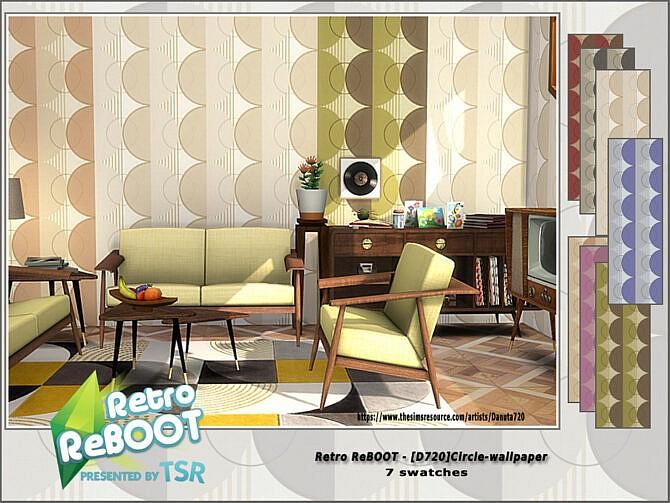 Sims 4 Retro D720 Circle Wallpaper by Danuta720 at TSR
