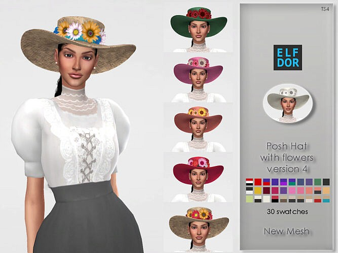 Posh Hat With Flowers Ver 4