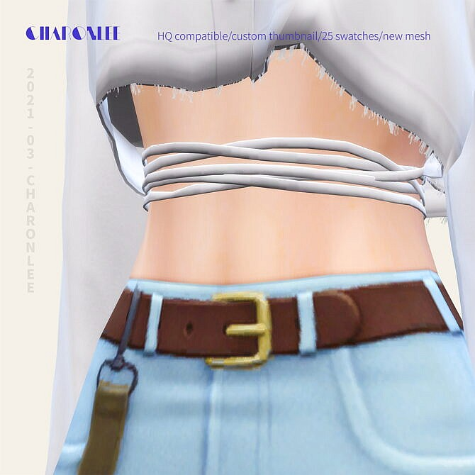 Sims 4 Linen Crop Shirt at Charonlee