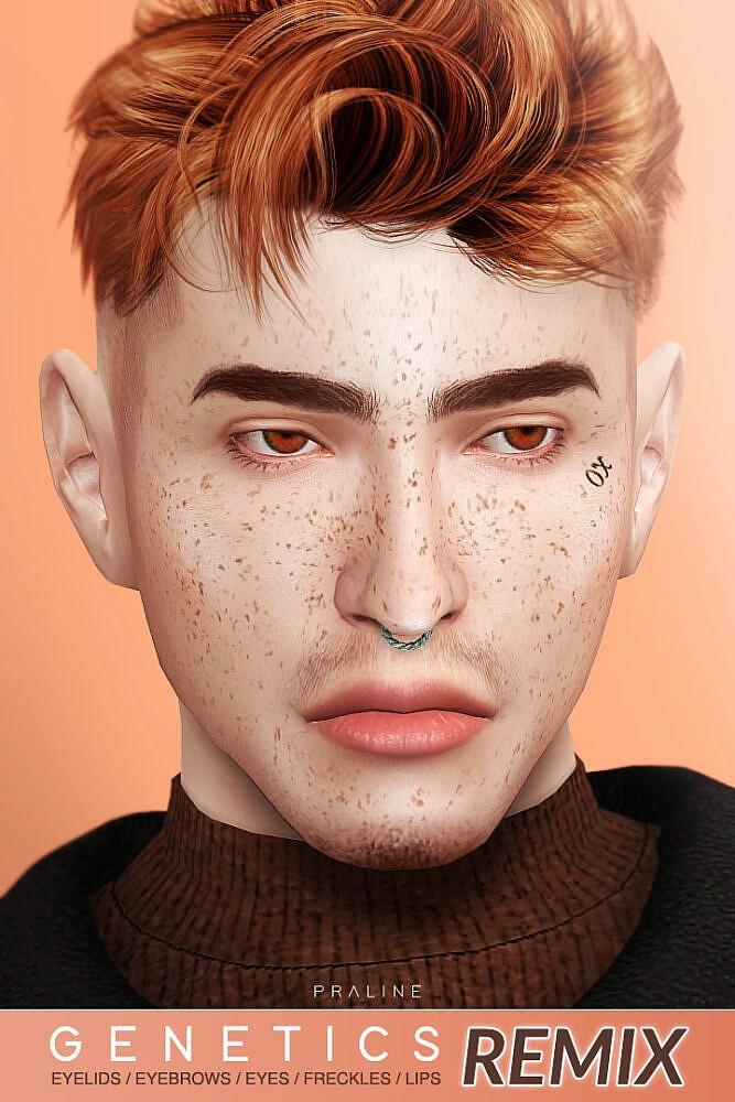 Sims 4 REMIX: eyebrows, freckles, eyelids & eyes + lipstick at Praline Sims
