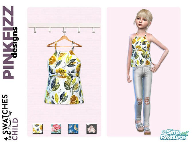 Sims 4 Little Flower Top by Pinkfizzzzz at TSR
