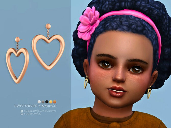 Sims 4 Sweetheart earrings Toddlers version by sugar owl at TSR