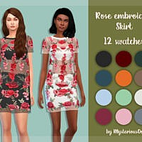 Rose Embroidery Skirt By Mysteriousoo