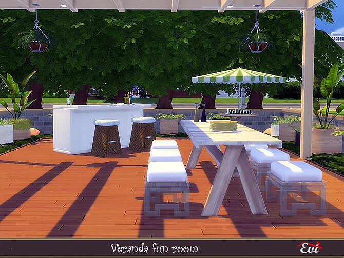Sims 4 Veranda fun room by evi at TSR