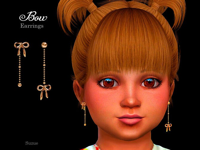 Sims 4 Bow Toddler Earrings by Suzue at TSR