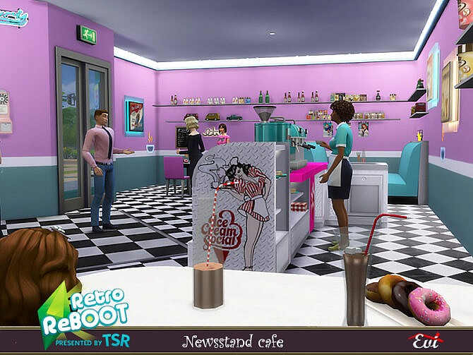 Sims 4 Retro Newsstand cafe by evi at TSR