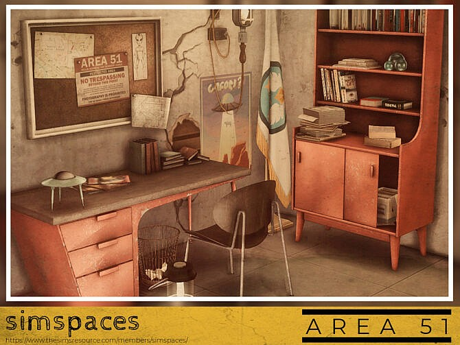 Sims 4 Area 51 office set by simspaces at TSR