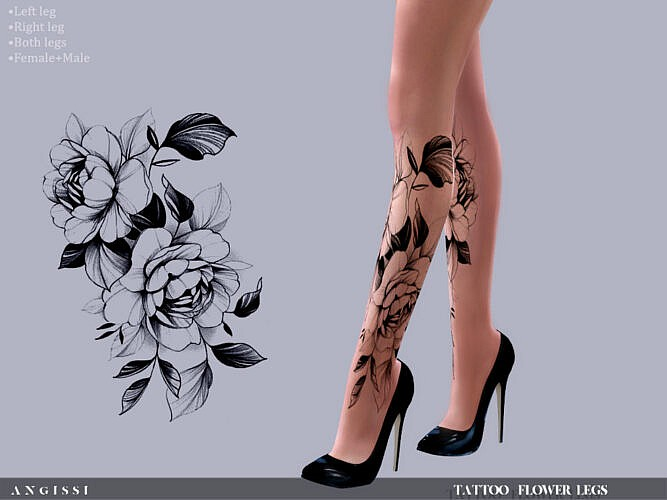 Flower Legs Tattoo By Angissi