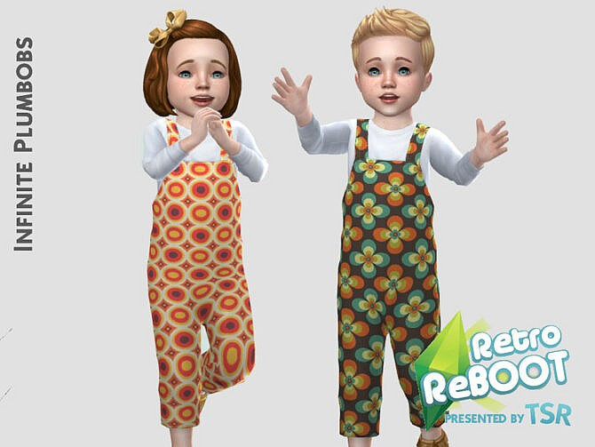 Sims 4 Toddler Retro 70s Dungarees by InfinitePlumbobs at TSR