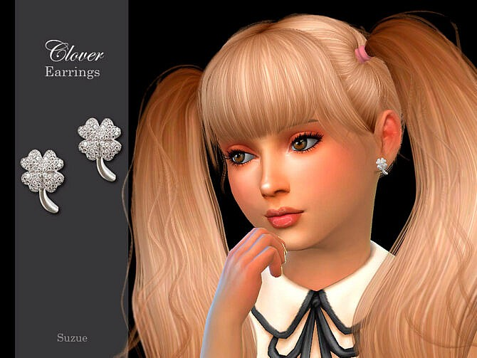 Sims 4 Clover Child Earrings by Suzue at TSR