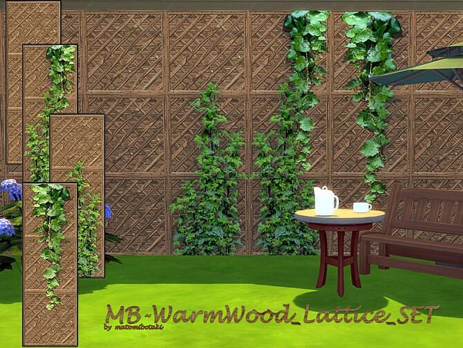 Sims 4 MB Warm Wood Lattice SET by matomibotaki at TSR