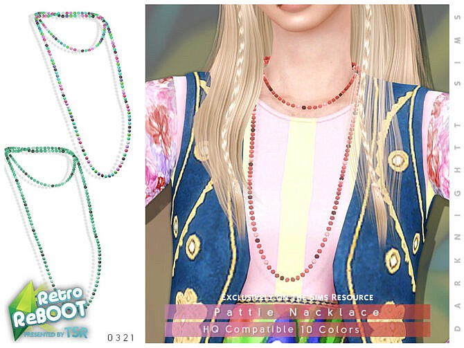 Sims 4 Retro Pattie Necklace by DarkNighTt at TSR