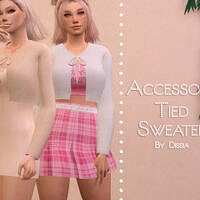 Accessory Tied Sweater By Dissia