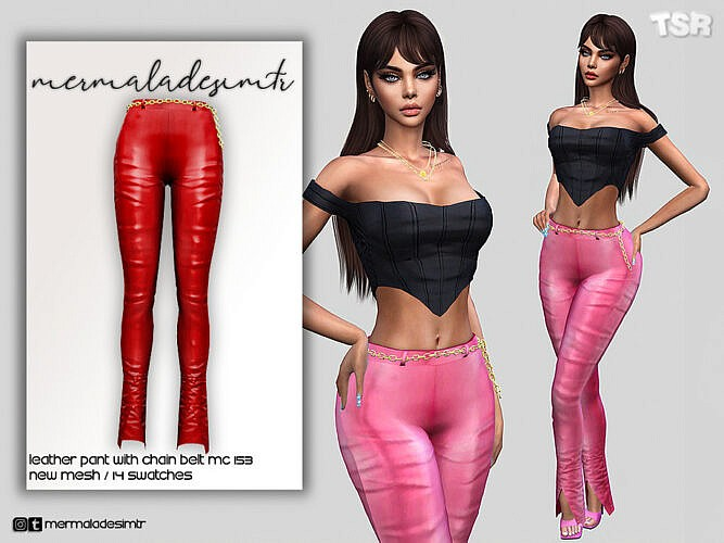 Leather Pants With Chain Belt Mc153 By Mermaladesimtr