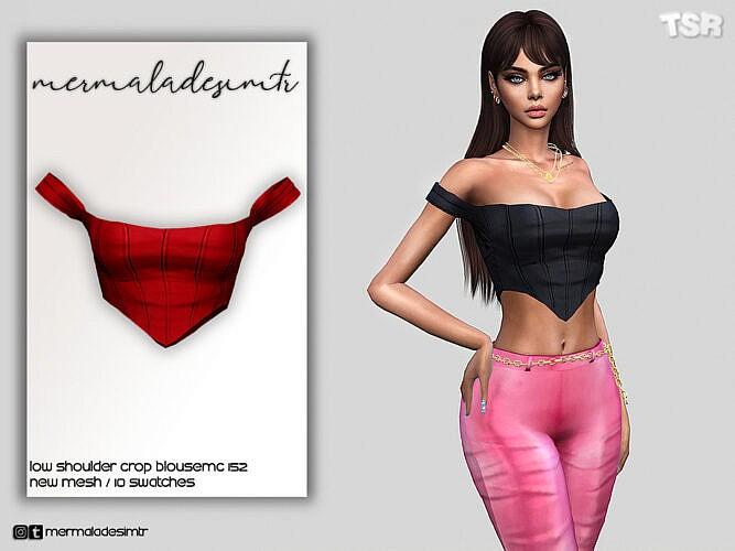 Low Shoulder Crop Blouse Mc152 By Mermaladesimtr