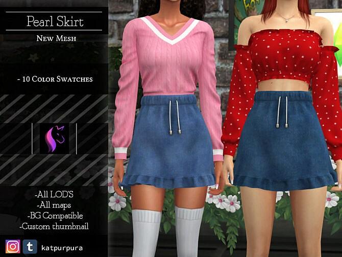 Sims 4 Pearl Skirt by KaTPurpura at TSR