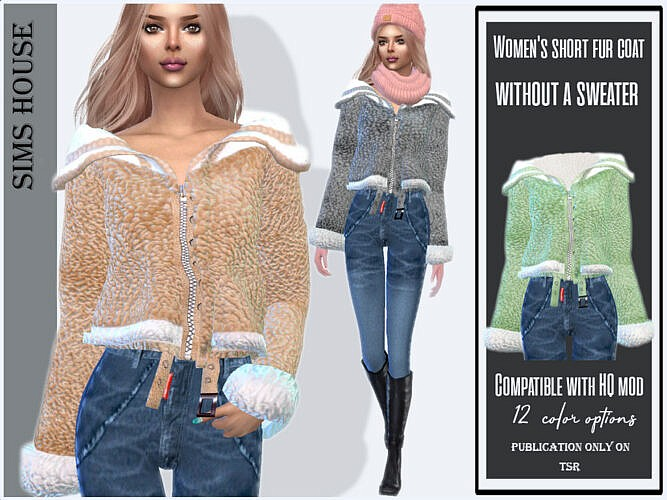 Short Fur Coat Without A Sweater By Sims House