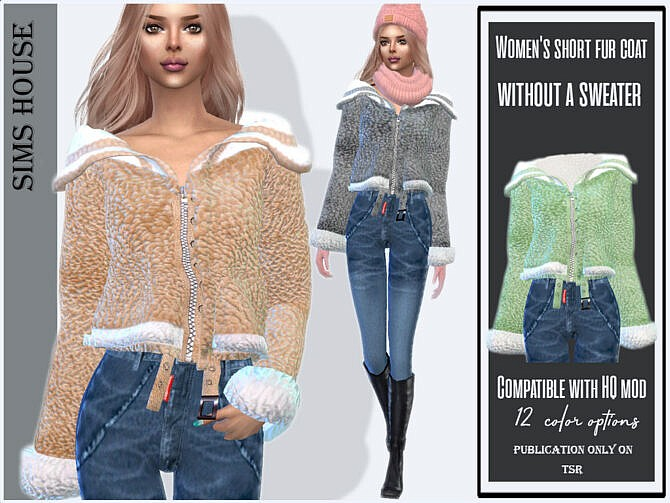 Sims 4 Short fur coat without a sweater by Sims House at TSR