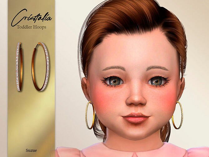 Sims 4 Cristalia Toddler Hoops Earrings by Suzue at TSR