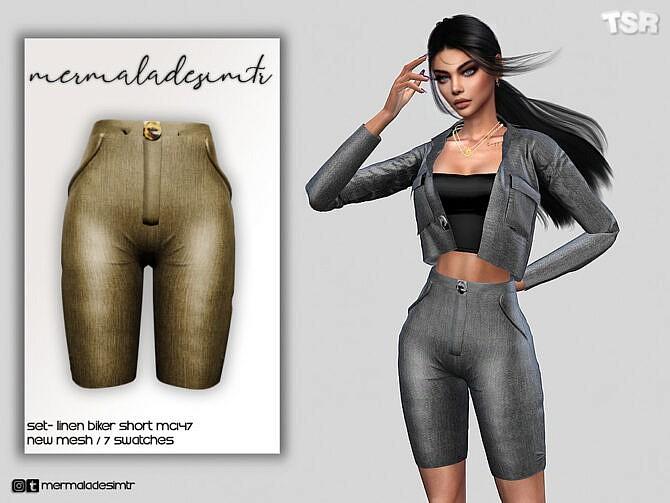 Sims 4 Set Linen Biker Short MC147 by mermaladesimtr at TSR