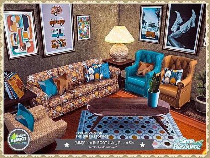Sims 4 Retro Living Room Set by Moniamay72 at TSR