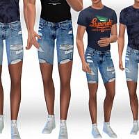 Men Ripped Denim Shorts By Saliwa