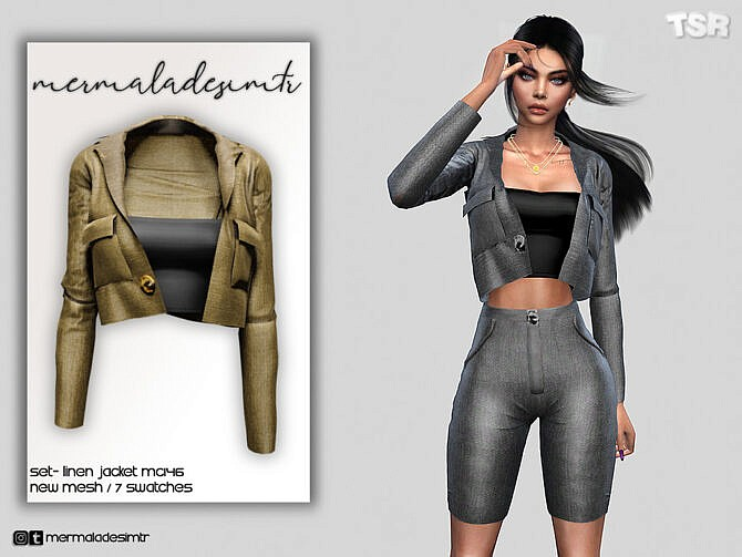 Sims 4 Set Linen Jacket MC146 by mermaladesimtr at TSR